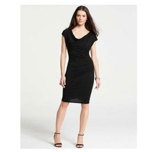 $98 Ann Taylor Cowl Neck Side Ruched Sheath Dress